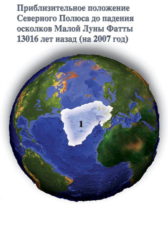 Положение северного полюса до катастрофы.  Иллюстрация из книги Н.В...