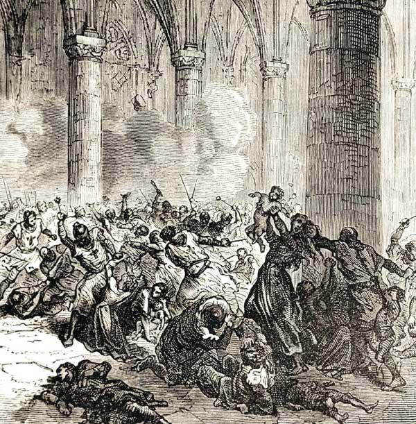 Сожжение 7000 жителей города Безье в церкви Марии Магдалины 22 июля