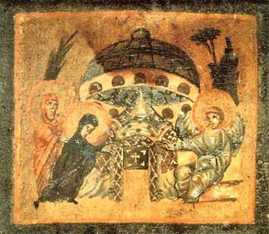 Старинная фреска ХI века, на которой показана ждущая Вайтмана. Называется она «Тарелка у могилы Иисуса»